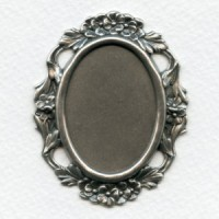 Floral Edge Plaque 38x28mm Setting Oxidized Silver (1)