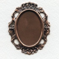 Floral Edge Plaque 38x28mm Setting Oxidized Copper (1)
