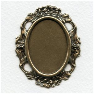 Floral Edge Plaque 38x28mm Setting Oxidized Brass (1)