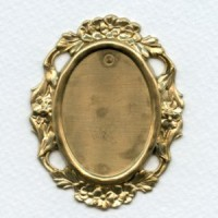Floral Edge Plaque 38x28mm Setting Raw Brass (1)