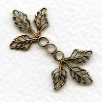Filigree Leaves Connectors Oxidized Brass 36mm (6)