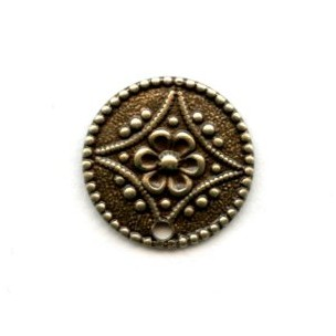 Floral Discs with One Hole Oxidized Brass (6)