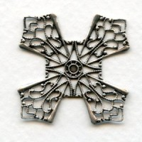 Flat Filigree Four Points Oxidized Silver 32mm (1)