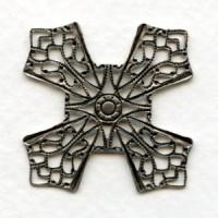 Flat Filigree Four Points Oxidized Silver 32mm (1)