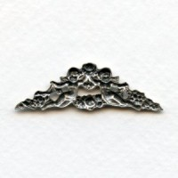 Rose and Cherub Swag Stamping Oxidized Silver (2)