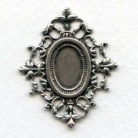 Ornate Filigree Setting 13x9mm Oxidized Silver (1)