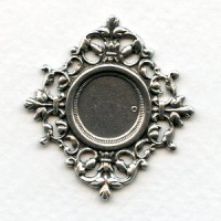 Ornate Centerpiece 13mm Setting Oxidized Silver (1)