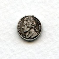 Tiny Nickel Coins Oxidized Silver 10mm (12)