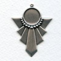 Art Deco Style Pendant Settings Oxidized Silver (6)