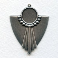 Large Art Deco Style Pendant Settings Oxidized Silver (4)