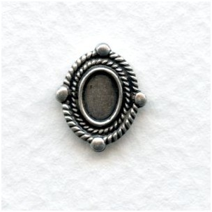 Ornate Oval Solid Oxidized Silver Settings 6x4mm (6)
