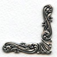 Large Elegant Scroll Design Corners Oxidized Silver (4)