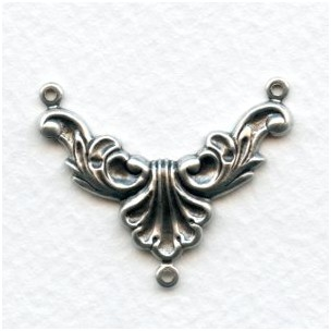 Necklace Connectors Rococo Style Oxidized Silver (6)