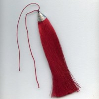 Tassel Silver Topped Red With Black Bead 7""