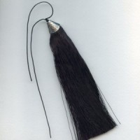 Tassel Silver Topped Black With Black Bead 7""