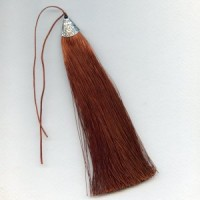 """^Tassel Silver Topped Brown With Black Bead 7"""""""