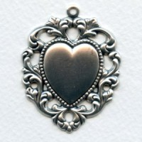*Floral Edged Heart Pendant Oxidized Silver (1)