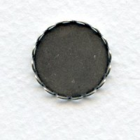 Lace Edge Settings 18mm Round Oxidized Silver (6)