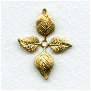 Small Versatile Leaf Stampings in Raw Brass 34mm (4)