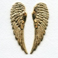 Detailed Large Wings Bright Gold 65mm (1 set)