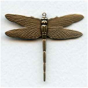 Dramatic Dragonfly with Loop 43mm Oxidized Brass (1)