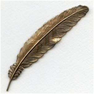 Large Feather Stamping Oxidized Brass 115mm (1)