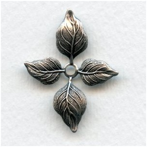 Small Versatile Leaf Stampings Oxidized Silver 34mm (4)