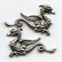 Medieval Style Dragon Stampings Oxidized Silver (1 set)