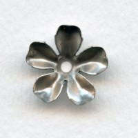 Large Blossom Flower Shapes Oxidized Silver 17mm (6)