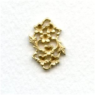 Floral Connector to Set Stones Into Raw Brass (6)