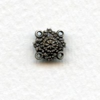 Tiny Floral Four Loop Connectors Oxidized Silver 9mm (6)