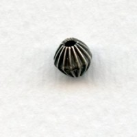 Corrugated Bicone Beads Oxidized Silver 6mm (12)