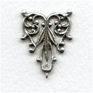 Foliate Detail Filigree Triangle Oxidized Silver 29mm (2)