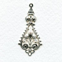 Filigree Pendant Drops 43mm Bright Silver Plated (6)