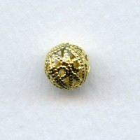 Round Filigree Beads 8mm Raw Brass (12)