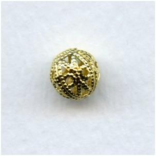 Round Filigree Beads 8mm Raw Brass (12)