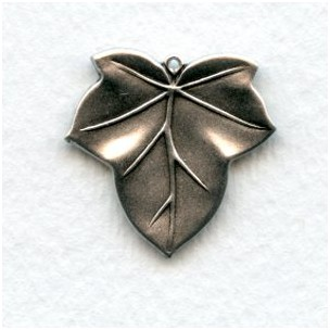 Leaves with a Loop Oxidized Silver 23mm (4)