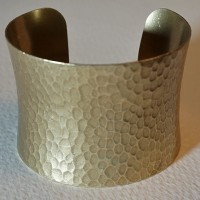 Hammered Concave Oxidized Brass 49mm Cuff (1)