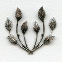 Spray of Leaves Oxidized Silver 50mm (1)