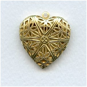 Filigree Heart Locket Raw Brass 28mm Made in the USA