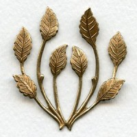 Spray of Leaves Oxidized Brass 50mm (1)