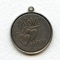 I Love You Charms Oxidized Silver 29mm (3)