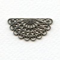 Filigree Fan Shape Oxidized Silver 38mm (6)