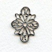 Filigree 4-Way Connectors 26x20mm Bright Silver Plated (6)