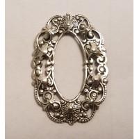 Smaller Filigree Oval 37x25mm Frames Oxidized Silver (6)