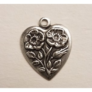 Heart and Flowers 16mm Charm Oxidized Silver (12)