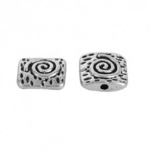 Spacer Beads Square Antique Silver Spiral 10mm (4)