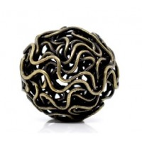 Hollow Wire Bead Antique Bronze 18mm (2)