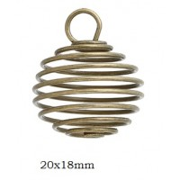 Spiral Wire Antique Bronze cages 20x18mm (2)