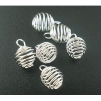 Bright Silver Plated Spiral Bead Cages Pendants 12x9mm (4)